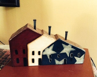 Americana Saltbox Row House Shelf Sitter, Handcrafted and Hand Painted