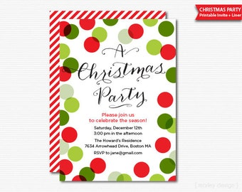Christmas Party Invitation Printable Holiday Celebration Digital File PDF Invite Traditional Colors Christmas Invitation Polka Dots Confetti
