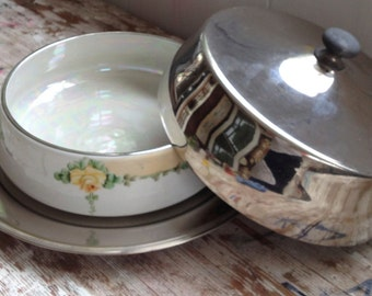Royal Rochester Ovenbake Casserole Dish with Silver Plated Serving Tray and Cover