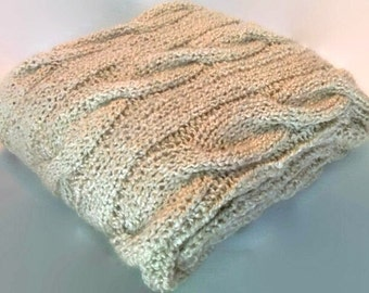 Knit Blanket/ Throw with Cables in Oatmeal