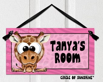 Door Sign, Giraffe, Pink, Safari Jungle Animals, Home Decor, Office Decor, School Classroom Decor