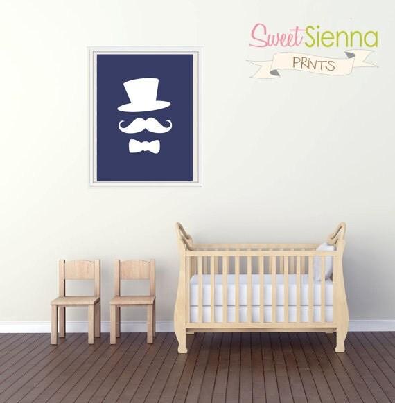 "Printable Nursery Print  ""Top hat, mustache and bow tie"" Nursery decor, baby nursery art. Nursery Wall art,  typographic print, 8x10"" PDF"