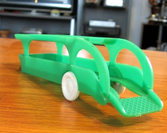 Vintage 1950s-60s Hard Plastic Green Toy Car Hauler by Cherrio
