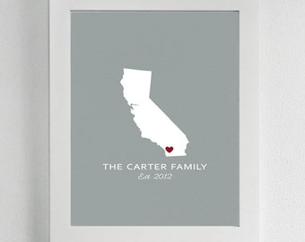 Custom State Wall Print - States, Family, Home, House, Live, Address, Decor, Personalized