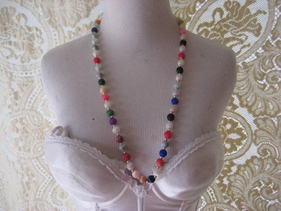 multi colored silk bead necklace 30 inch boho necklace