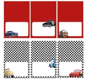 Disney Cars Food Labels, Placecards, Tent Cards, Favor Tags / 6 characters - INSTANT DOWNLOAD