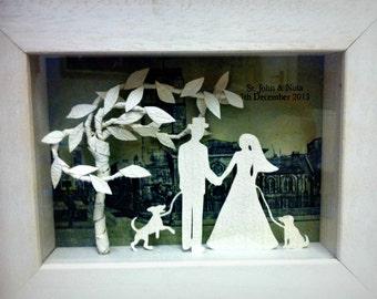 3D handmade paper sculpture Personalised Wedding Gift