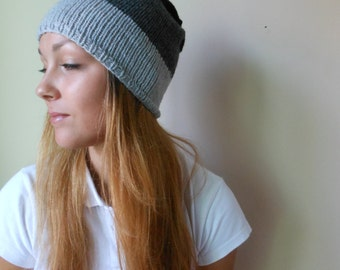 Hand Knit Slouchy Beanie Hat Acrylic Grey Dark Grey and Black