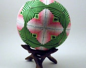 "Japanese Temari Ball - Kasuri Design (Pink 4 1/2"")"