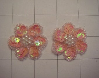 "1.25"" Coral AB Sequins Flower Applique Set of 2 Pearl Center A-66"