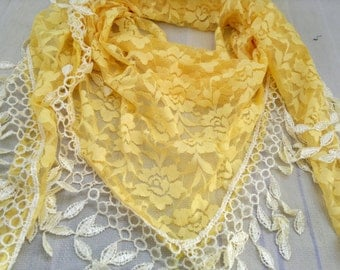 Triangle Scarf Yellow Lace Scarf Floral Scarf with Fringe Fashion Scarf
