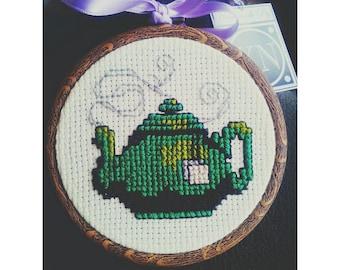 Framed Cross-Stitch Green TeaPot