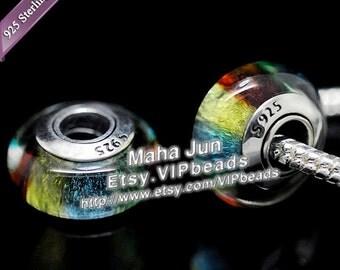 Top Quality  925 Silver Screw Core  Murano Glass Beads Lampwork European Charm Bead Fits European Charm Bracelets/ ZS064