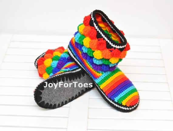 Crochet  Shoes Slippers Rainbow Bubbles Custom Made Adult Crochet Slippers Multi color