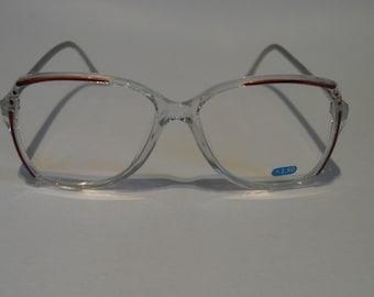 Vintage Crystal Clear & Coffee Brown D-frame Optical Frame
