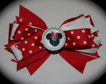 NEW Minnie Mouse bottlecap hairbow red and white polka dot barrette