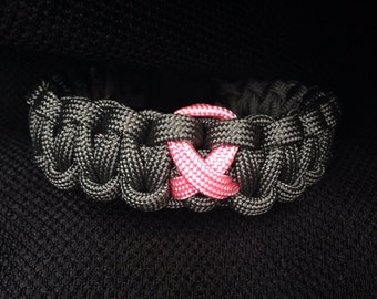 Breast Cancer Awareness Charcoal Grey Paracord Bracelet (custom size)