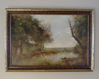 SALE - Beautiful Pastoral Landscape Oil Painting in Original Frame