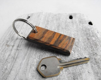 Exotic Chechen Wood Key Chain - Hand Shaped Wooden Keychain with Silver Tone Split Ring