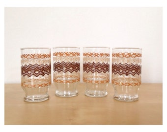 Small Juice Glasses with Tribal Graphics