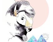 Bison Buffalo with Mountains Ink Pen Watercolour Digital art print