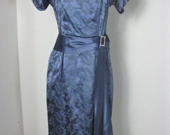 1950s  Embroidered Blue Satin Party Dress..............size XL
