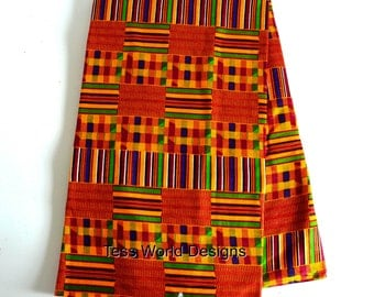 Ashanti Kente Print on Etsy , Kente Cloth fabric , traditional , Orange Kente , African fabric ,  Cotton Print ,  Sold by the Yard ,  KF01B