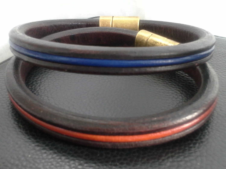 thin blue line awareness bracelets brown leather w leather. Black Bedroom Furniture Sets. Home Design Ideas