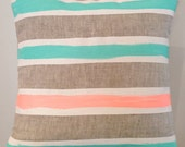 Meg White and Mint art cushion - insert included, bright mint, neon peach and white on linen cushion for your home.