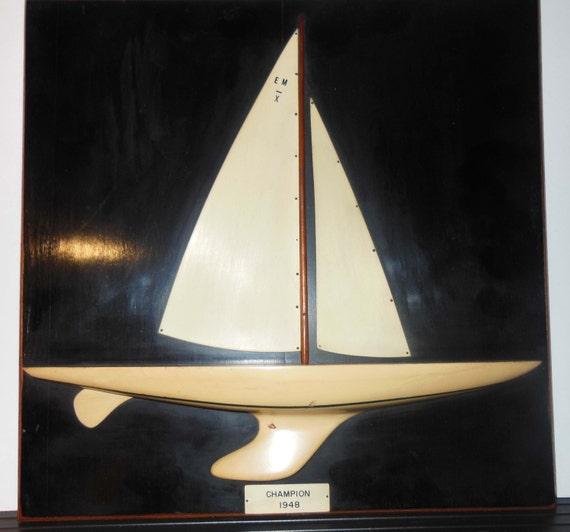 Wood Sailboat Wall Decor : Vintage wooden sailboat wall art trophy champion