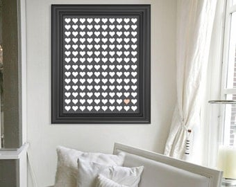 "Wedding Hearts Signature Print, Wedding Guestbook Alternative Poster, Wedding Decor Printable File, 16""x20"", 150 Guests, Heart Chart"