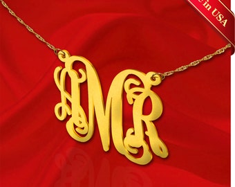 Monogram Necklace 1 inch 24K Gold Plated Vine Sterling Silver Handcrafted Personalized Initial Necklace - Made in USA