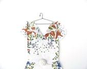 Hanky Dress Wall Art - Fall Floral in Brown and Blue