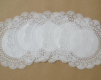 100 - 5 inch white Cambridge lace paper doilies