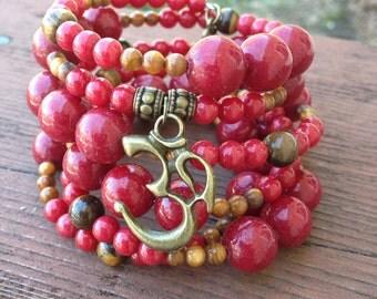 Red gemstone memory wire bracelet, Om charm wrap, semi precious bracelet, Zen cuff, Yoga Jewelry, Dyed Jade and Tigers Eye Beads