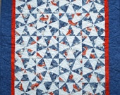 """Quilted wall-hanging: """"Swimming Upstream"""""""