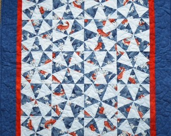 "Quilted wall-hanging: ""Swimming Upstream"""