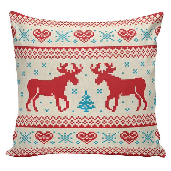 Items similar to Christmas Pillow Throw Pillow Cover French Vintage Red Scandanavian Deer ...