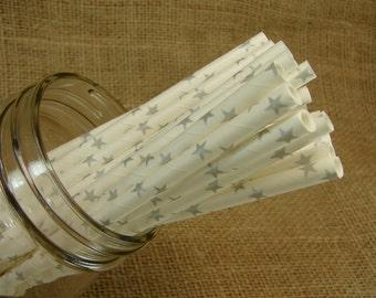 Straws  -  25 Metallic Silver Stars On  White Paper Straws