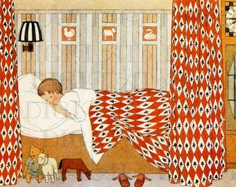 Little Fella and His Toys Sound Asleep! VINTAGE Digital Child Illustration. Vintage DIGITAL Illustration Download.