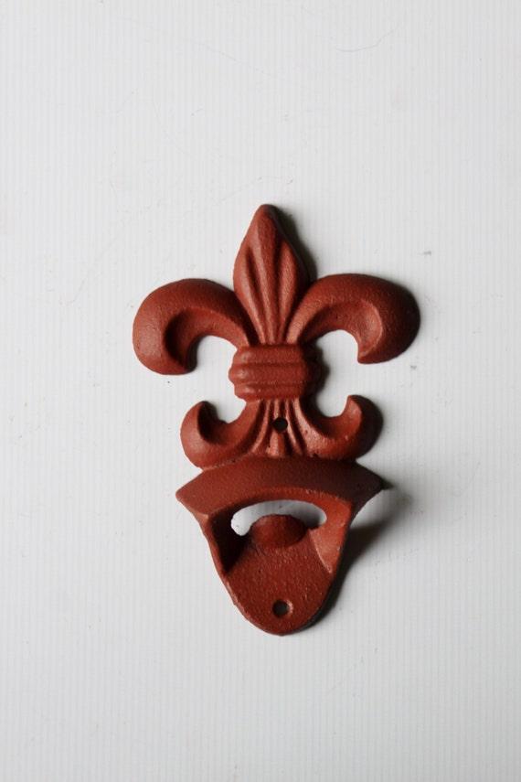 Fleur de lis wall mounted bottle opener faded barn red house - Fleur de lis bottle opener ...