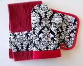 Damask and Red Oven Mitt Pot Holder Set with optional towel