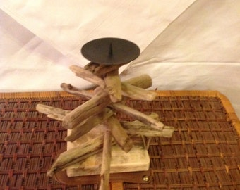 Handmade drift wood candle holder