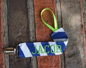 Blue Pacifier Clip, Personalized Binky Holder, Baby Boy Gift