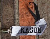 Boy Pacifier Clip, Personalized Paci Holder, Chevron, Grey and Black