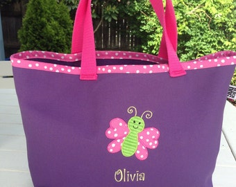 Kids Personalized Purple Tote with Butterfly Design