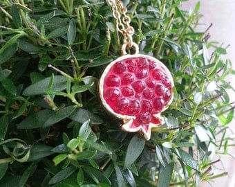 Red Pomegranate Pendant, Pomegranate Necklace, Gold Necklace, Resin Jewelry