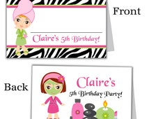 Spa Party Buffet Cards - Hot Pink Zebra Print with Cute Little Spa Girls Personalized Birthday Party Name Cards - A Digital Printable File