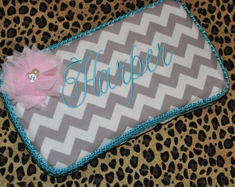 Gray Chevron Wipe case with Tulle Flower