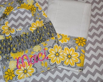 Gray and Yellow Flower Bib and Burp Set